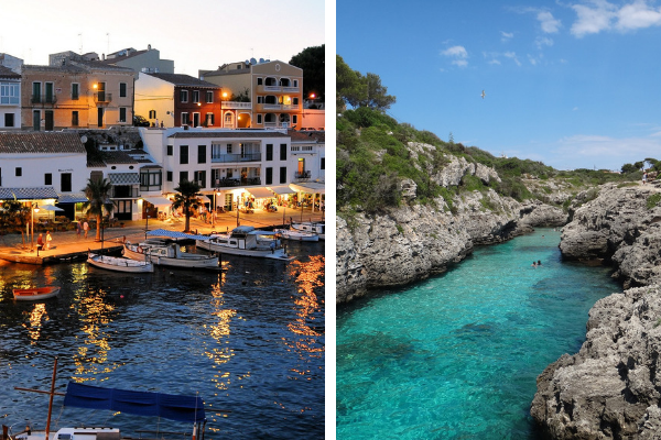 Collage of Mahon port and small cala in Menorca