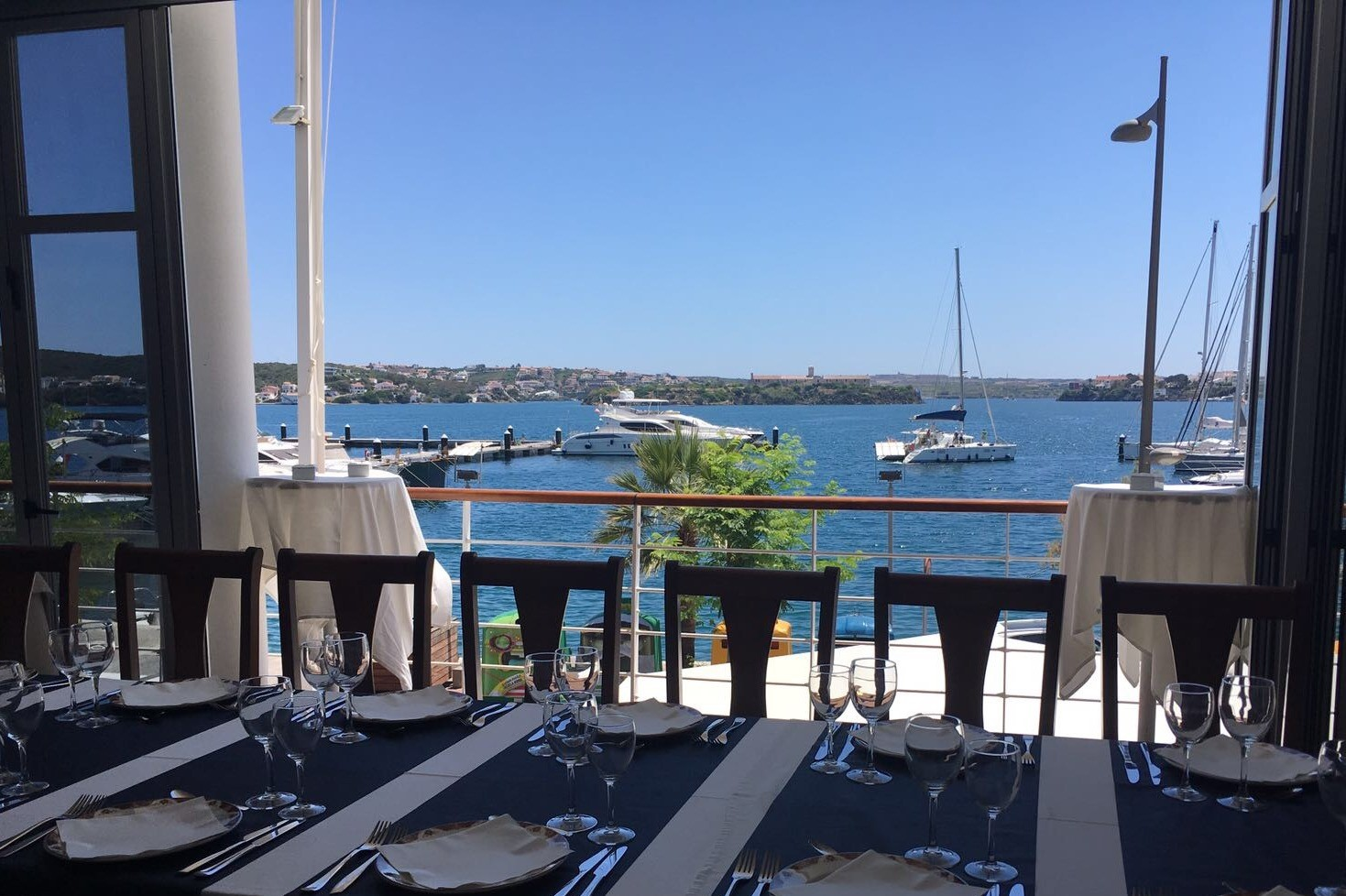 View of Port from restaurant in Mahon Port