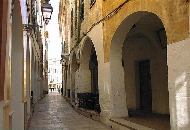 Narrow winding streets in Ciutadella Menorca