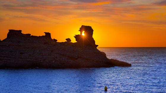 Sunset in Cala Morell Menorca
